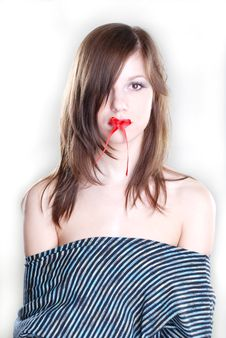 Free Red Bow On The Lips Stock Photography - 5114982