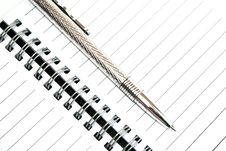 Free Silvery Pen And Note-book Stock Photo - 5117020