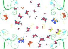 Free Swirls And Butterflies Royalty Free Stock Images - 5117559