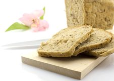 Cut Rye Bread Loaf And A Flower, Isolated Royalty Free Stock Images