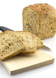 Cut Rye Bread Loaf, Isolated Royalty Free Stock Images