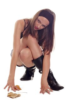 Free Erotic Girl In Shorts And High-boot Royalty Free Stock Photography - 5118897