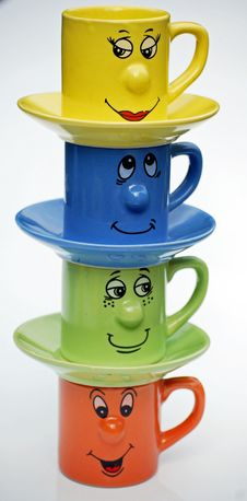 Free Teacups With Faces Stock Image - 5118971