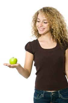 Free Holding An Apple Stock Image - 5119461