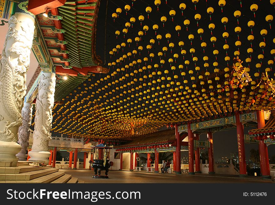 Chinese Temple with Small Yellow Latern