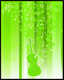 Free Violin  And Stars Flayer Royalty Free Stock Image - 5120466