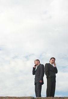 Free Businessmen Talking By Phone Stock Photo - 5120880