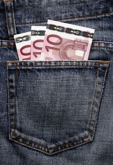 Free Euro Pocket Money In Blue Jeans Stock Photo - 5121000