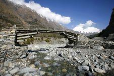 Wooden Footbridge On The Annapurna Stock Photos