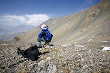 Free Man Admiring View In The Himalayas Stock Photos - 5122363