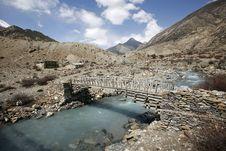 Wooden Footbridge On The Annapurna Royalty Free Stock Photography