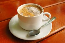 Free Cappuccino Cup With Metal Spoon Stock Photography - 5122612
