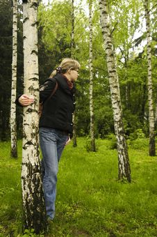 Free Girl In The Birch Grove Royalty Free Stock Image - 5122816