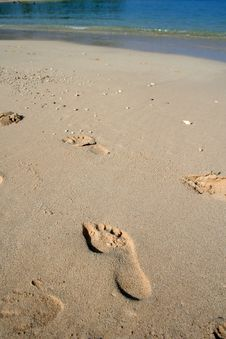 Free Footprints In The Sand Stock Image - 5122901