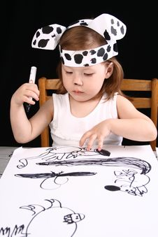 Free Small Girl With Dalmatian Mask Stock Images - 5124684
