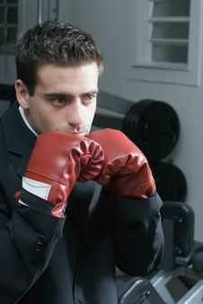 Free Businessman Wearing Boxing Gloves Stock Photo - 5124970