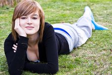 Free Smiling Beauty On Grass Stock Photography - 5125712