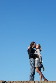 Free Couple Strong Kissing On The Top Stock Photography - 5126202