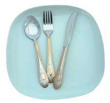 Free Gold Plate Cutlery Royalty Free Stock Photos - 5126908