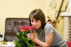 Free Young Woman With Roses Stock Image - 5127701