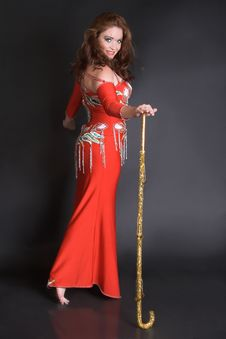 Free Belly Dancer With Cane Stock Photo - 5128160
