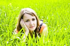Free Young Pensive On The Grass Stock Images - 5128644