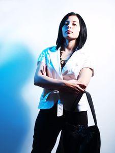 Pretty Woman In Blue Light Stock Photos