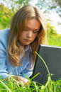 Free Girl Working With Notebook Outdoor Royalty Free Stock Photo - 5134155