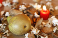 Free Burning Candle, Pear And Dried Plants Stock Image - 5137111
