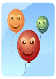 Free Smiling Balloons In The Sky Royalty Free Stock Photo - 5130305
