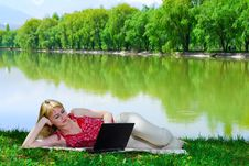 Free Beautiful Young Woman With Laptop Royalty Free Stock Photo - 5130465