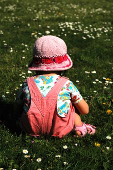 Free Little Girl Sitting On The Grass Royalty Free Stock Image - 5130736