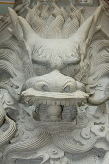 Free Dragon Head Carving Stock Image - 5130751