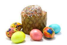 Free Easter Cake And Six Easter Eggs Stock Images - 5131264