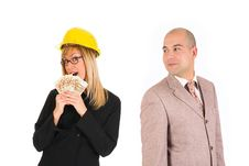 Businesswoman With Earnings And Businessman Stock Photo