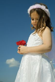 Free Girl Holding Red Roses Royalty Free Stock Image - 5131846