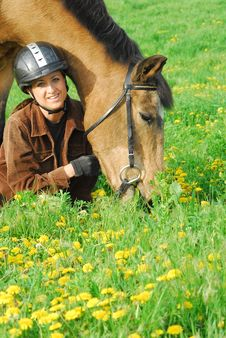 Woman And Horse Portrait Royalty Free Stock Photography