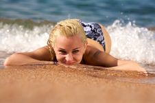 Surf Woman Stock Photography