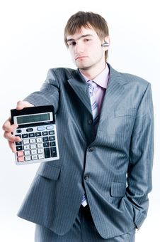 Free Tired Businessman With Calculator Royalty Free Stock Photo - 5134615