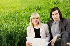 Free Business Couple On The Grass Royalty Free Stock Images - 5136199