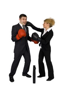 Free Businesswoman And Businessman Boxing. Royalty Free Stock Images - 5136909