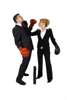 Free Businesswoman And Businessman Boxing. Royalty Free Stock Image - 5137036