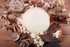 Candle And Dried Plants Royalty Free Stock Images