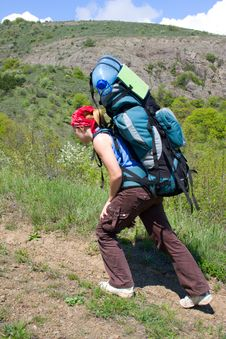 Free Backpacker Girl Going Up On The Hill Stock Image - 5138121