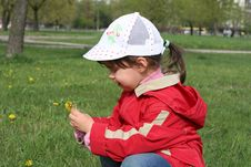 Free Little Girl Tear Flower Dandelion Stock Images - 5138384