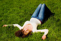 Free Girl Is Relaxing On The Grass Stock Images - 5142014