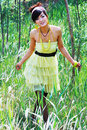 Free Young Gril Walk In Meadow Royalty Free Stock Image - 5146216