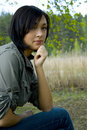 Free Young Sad Woman In The Forest Royalty Free Stock Images - 5149099