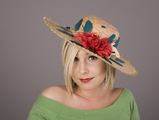 Free Blonde Flowered Hat Slanted Big Eyes Royalty Free Stock Photography - 5140857