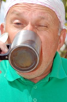 Free Drinking Senior Man Royalty Free Stock Image - 5141216